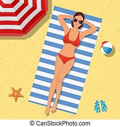 夏, 女の子, 浜, bikini., 時間