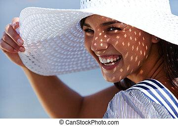 夏, 女の子, 笑い
