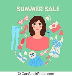 夏, 女性買い物, 平ら, セール, デザイン
