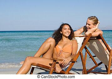 夏, 女性, 休暇, 弛緩, 若い