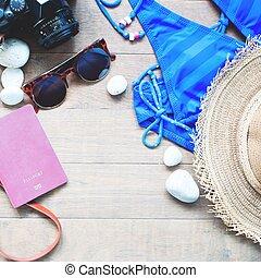 夏, 女性, 項目, コレクション, 木, 背景, 浜