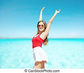 夏, 女, サングラス, 若い, 浜, 幸せ