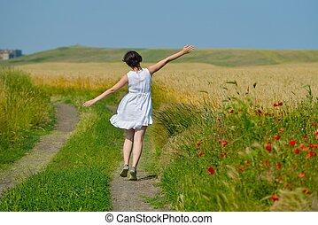 夏, 女, 小麦, 若い, フィールド