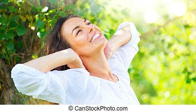 夏, 女, 美しさ, 自然, 公園, 若い, 楽しむ