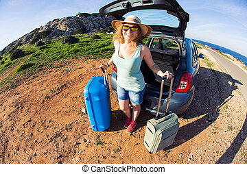 夏, 女, vacation., 自動車, 旅行, 概念, 休日