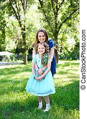 夏, 娘, 公園, 一緒に, 母, outdoors., 幸せ