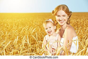 夏, 娘, 家族, nature., フィールド, 母, 赤ん坊, 小麦, 幸せ