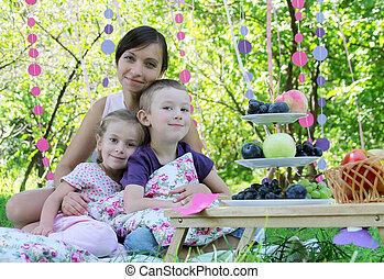 夏, 子供, ピクニック, 2, 母
