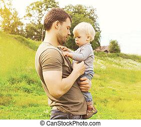 夏, 子供, 父, 一緒に, 息子, 屋外で, 日