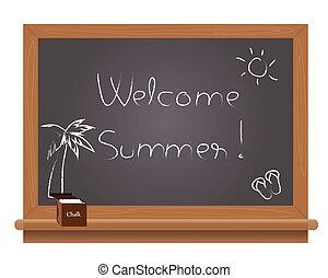夏, 学校, 歓迎, bla, テキスト
