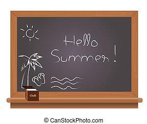 夏, 学校, 黒, こんにちは, テキスト