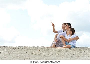 夏, 家族の 肖像画, 浜, 日, 幸せ