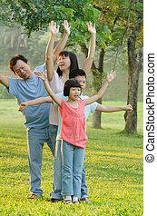 夏, 家族, 田舎, 歩きなさい, アジア人, 楽しむ