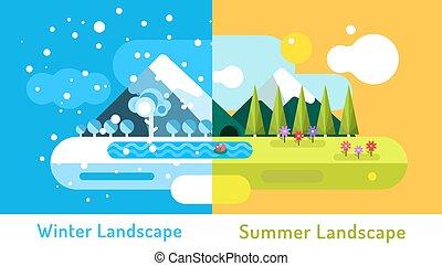 夏, 屋外, 洞穴, 冬, elements., 景色。, 太陽, 抽象的, 自然, 雲, 木, 雪, 花,...