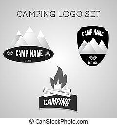 夏, 屋外, banner., キャンプ場, セット, 冒険, ロゴ, 2015, emblems., 銀, バッジ