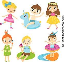 夏, 屋外, set., 持つこと, 漫画, 子供, 活動, 楽しみ, ホリデー, 子供