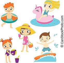 夏, 屋外, set., 持つこと, 漫画, 子供, 活動, 楽しみ, ホリデー, 浜, 子供