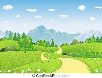 夏, 山。, 牧草地, 風景