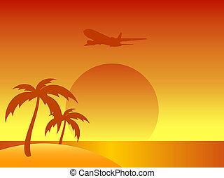 夏, 島, 抽象的, 木, やし, 飛行機