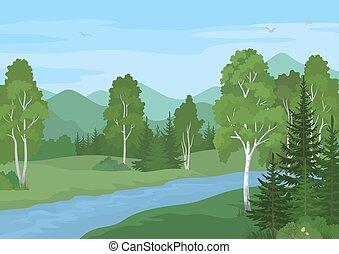 夏, 川の景色, 木