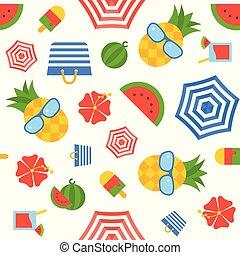 夏, 平ら, パターン, seamless, 主題, ベクトル, デザイン
