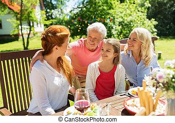 夏, 庭, 家族の夕食, 持つこと, 幸せ