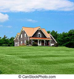 夏, 庭, 美化される, 贅沢, 前部, 家