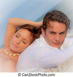 夏, 弛緩, 恋人, 卵を生む, 休暇, 浜