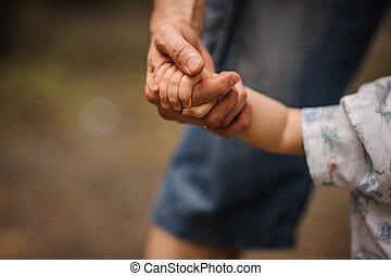 夏, 彼の, リード, 自然, 屋外, 息子, 父, 森林, 子供, 手