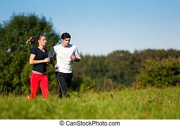 夏, 恋人, スポーツ, ジョッギング, 屋外で