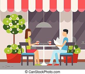 夏, 恋人, 台地, 屋外で, テーブル, カフェ