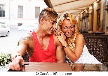 夏, 恋人, 若い, の後ろ, テーブル, 流行, カフェ, 幸せ
