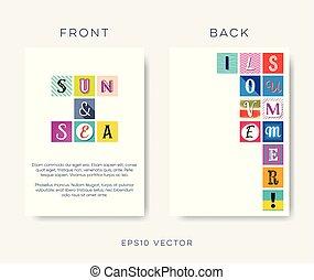 夏, 手紙, 抽象的, 現代, ベクトル, デザイン