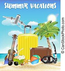夏, 手荷物, 旅行, オブジェクト, 休暇, 浜