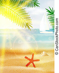 夏, 抽象的, 浜。, ポスター