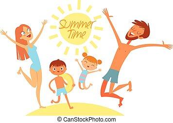 夏, 持ちなさい, 家族, vacation., 若い, time., 跳躍, 海, 楽しみ, 浜