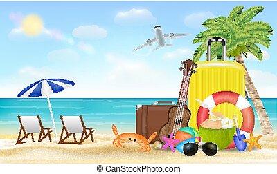 夏, 旅行, 休暇, イラスト, 袋, 砂の 海, 浜