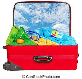 夏, 旅行, 休暇, 赤, スーツケース, パックされた