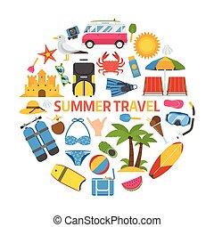 夏, 旅行, 概念