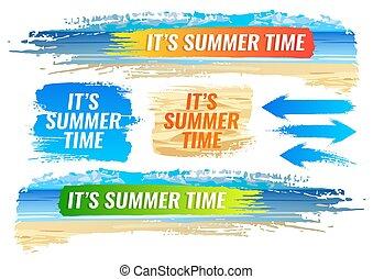 夏, 旗, 浜, 色, set., トロピカル, フレーム
