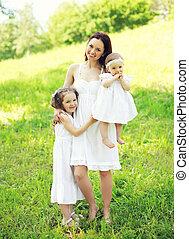 夏, 日当たりが良い, 2, 抱き合う, 子供, 母, 微笑, 日, 幸せ