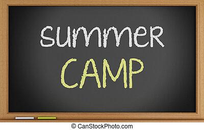 夏, 書かれた, キャンプ, blackboard.