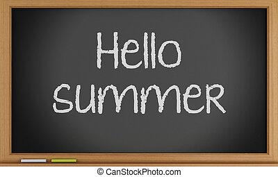 夏, 書かれた, blackboard., こんにちは