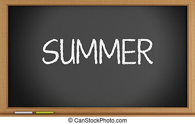 夏, 書かれた, blackboard., 時間
