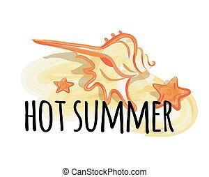 夏, 有色人種, 殻, ポスター, 暑い, 海, クリーム