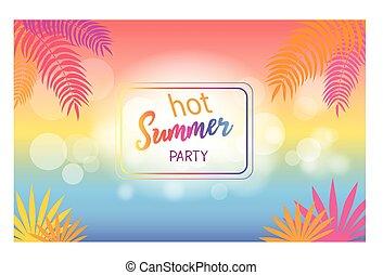 夏, 木, 暑い, やし, 背景, パーティー