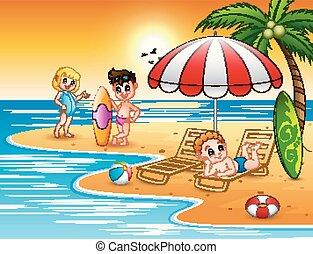 夏, 楽しむ, 浜の 休暇, 子供
