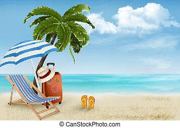 夏, 概念, 休暇, 木, バックグラウンド。, やし, chair., vector., 浜