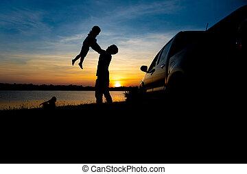 夏, 概念, 家族, 人々, 父, 休暇, 湖, field., 楽しい時を 過しなさい, 息子, 遊び, 味方, sunset.