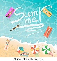 夏, 概念, 日光浴をしなさい, 桟橋, 木製である, マットレス, 浮き, スペース, 若い, 休暇, ビキニ, 砂, 浜。, 背景, text., 空気, 女性